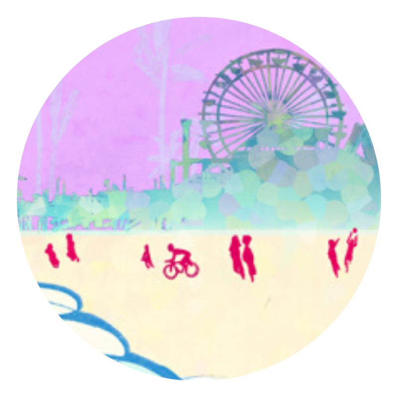 cartoon beach and ferris wheel
