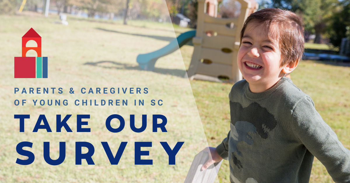 Illustration of colored blocks, photo of smiling boy on playground, and text that says ''Parents & caregivers of young children in SC / Take our survey''