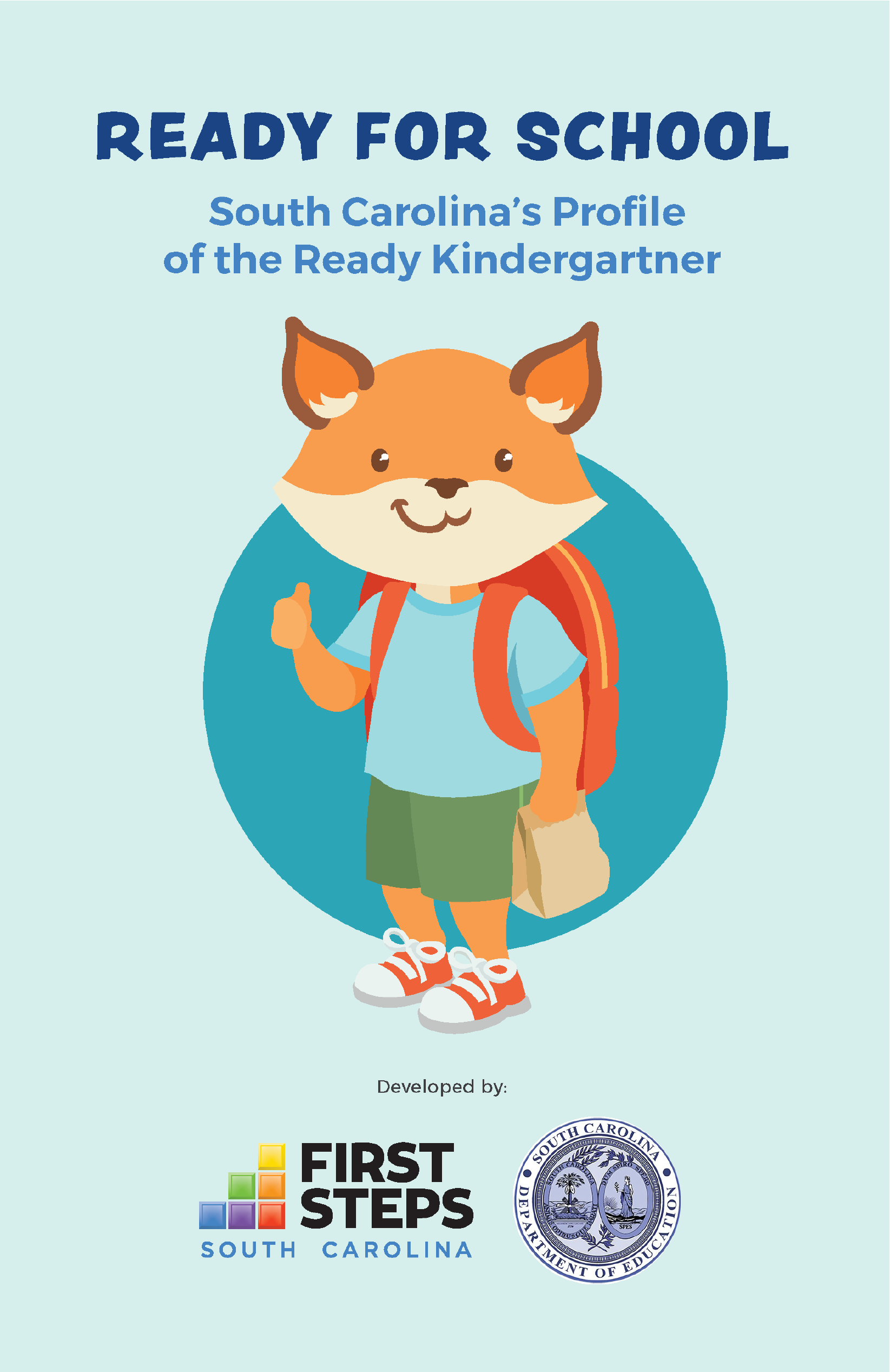 Cover of SC's Profile of the Ready Kindergartner featuring a smiling fox character with backpack
