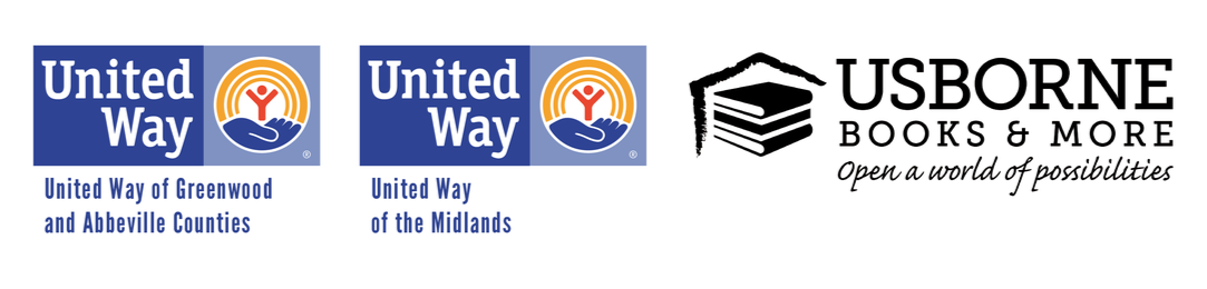 Logos of United Way of the Midlands, United Way of Greenwood and Abbeville Counties, and Usborne Books & More