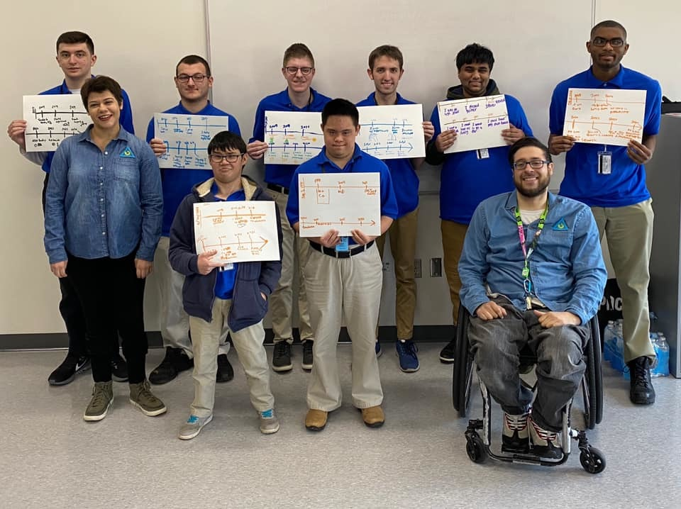 ARI Staff with young adults with disabilities holding posterboard timelines