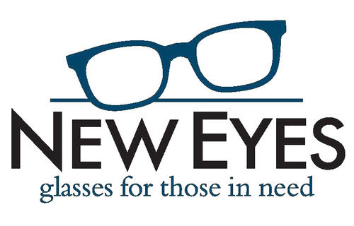 """logo with white background and blue and black text which says """"NEW EYES glasses for those in need"""" and has a image of glasses"""