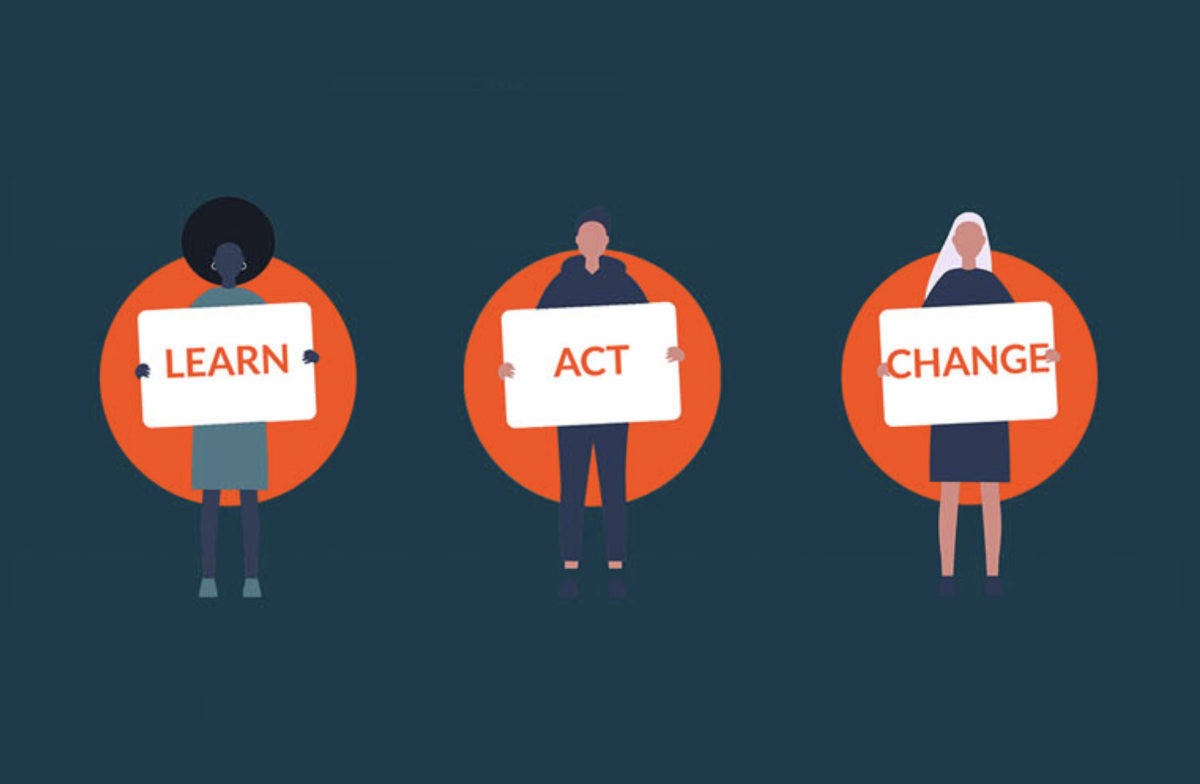 3 individuals, one with a sign saying LEARN, the next with a sign saying ACT, and the last with a sign saying CHANGE