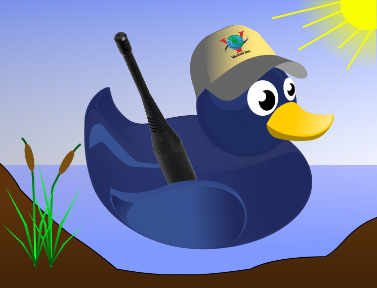 Rubber Duck with Vectors Inc. hat holding a Rubber Duck Antenna 20% off Antennas