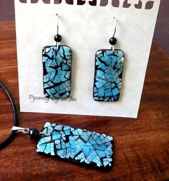 Image of mini mosaic earrings and necklace