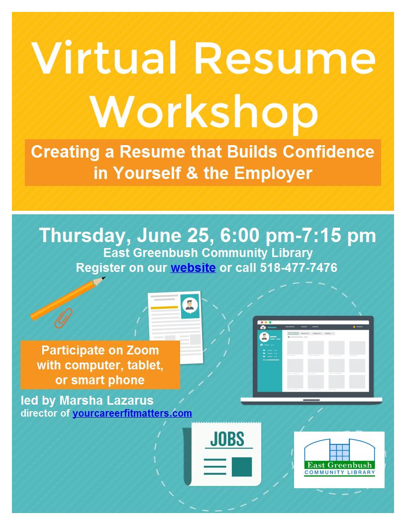 virtual resume workshop flyer Image
