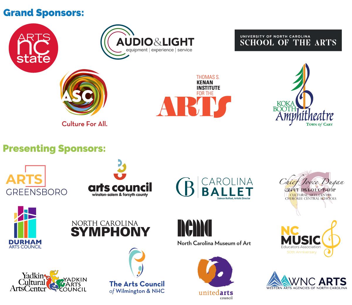 Arts NC Grand Sponsors, Presenting Sponsors