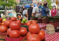 Photo of a Farmers Market table full of fruit including ripe peaches, plums, and strawberries