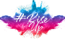 Pink, purple and blue paint splash graphic for the #RiseUp Kid's Art Show