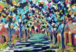 Impressionistic painting by Janak Narayan of a pathway or river flowing through a tunnel of colorful trees.