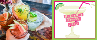 image for margarita stroll - left half of image is photo of hands holding margaritas and right side if the event logo, a cocktail glass with pink banners saying Margarita Stroll