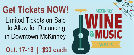 Event graphic for McKinney Wine & Music Festival - in downtown McKinney Oct. 17-18 $30 tickets