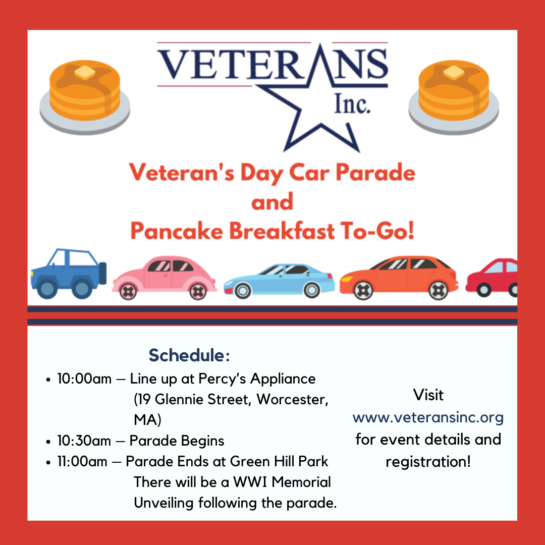 Graphic for Veterans, Inc. Veterans Day Car Parade and Pancake Breakfast-To-Go