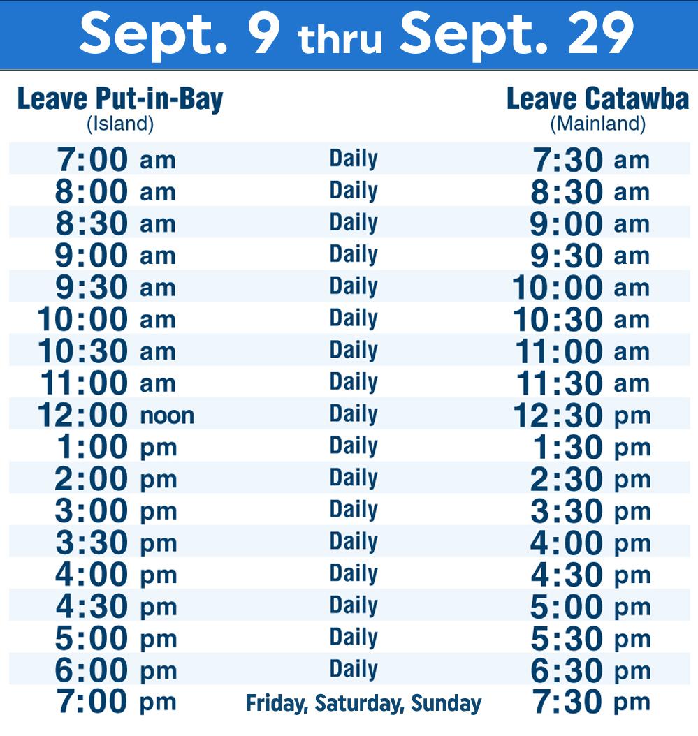 Put-in-Bay Schedule
