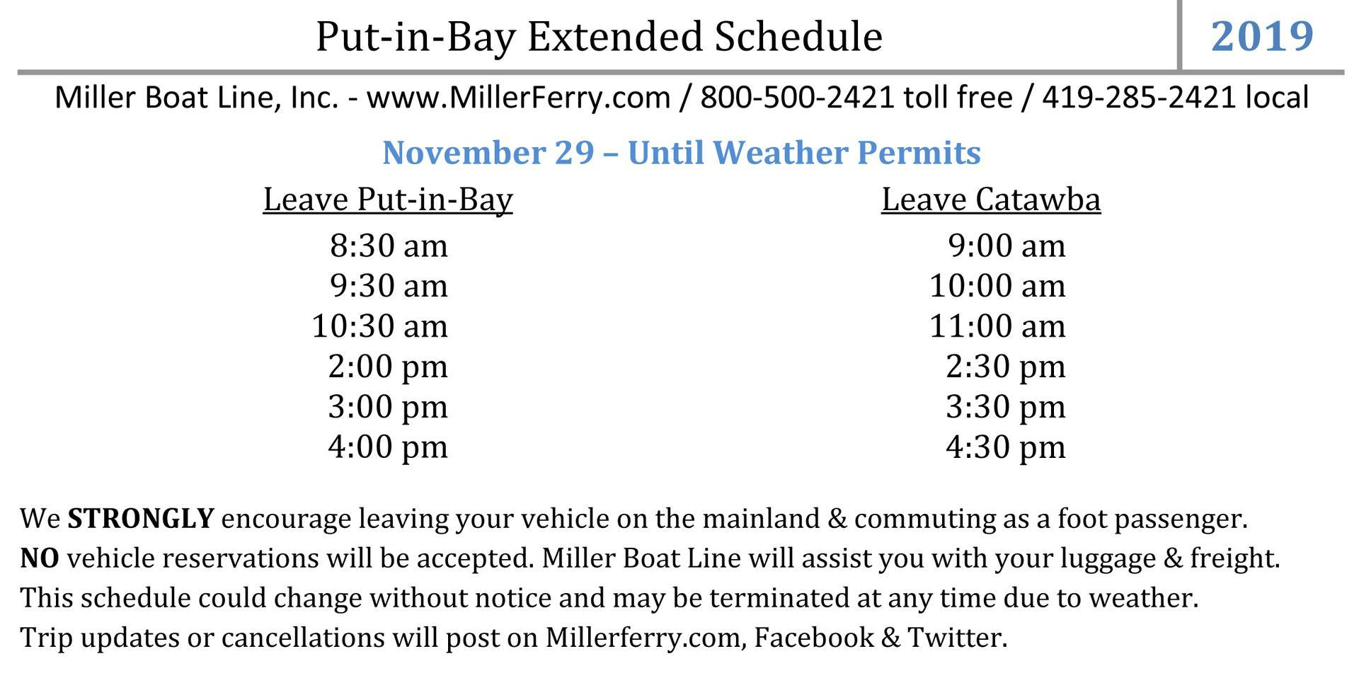 Miller Ferry 2019 Put-in-Bay Extended Schedule